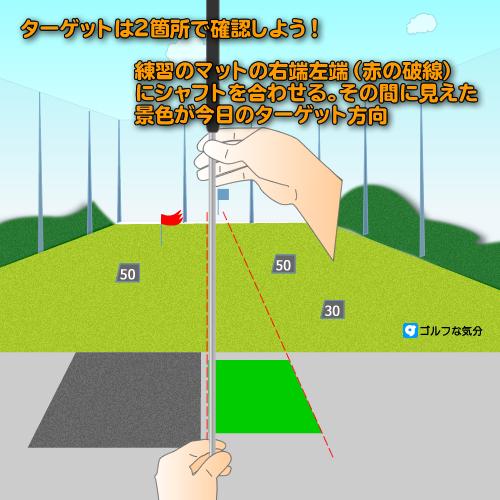ゴルフ練習場での方向取り