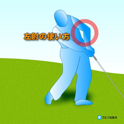 左肘の使い方