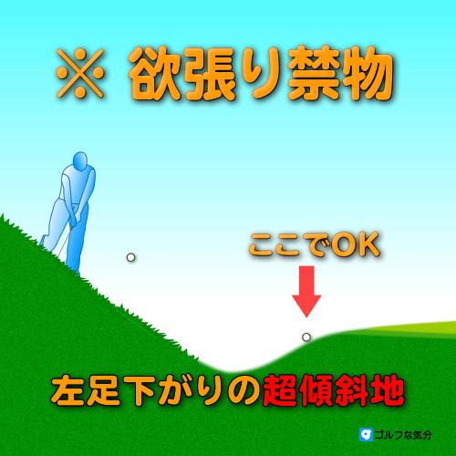 左足下がりの超傾斜地からのアプローチ