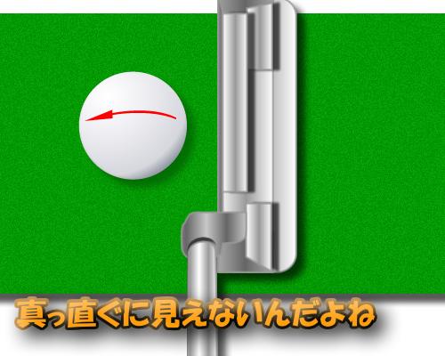 ゴルフボールに線を引く